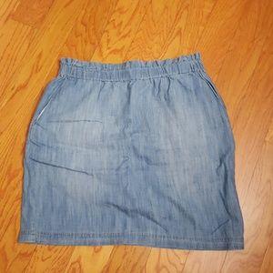 Chambray mini-skirt